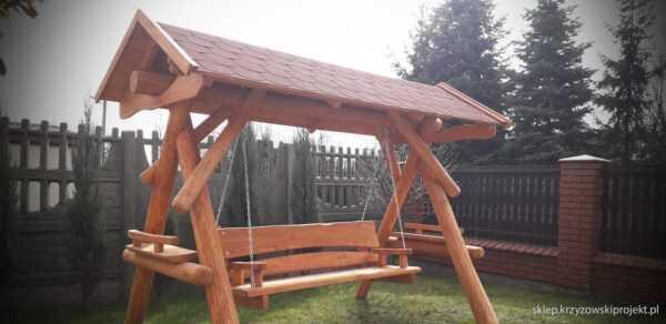 meble ogrodowe drewniane, huśtawki z bali, drewniane place zabaw, huśtawka z bali, huśtawka z dachem, gont bitumiczny 08