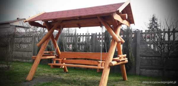 meble ogrodowe drewniane, huśtawki z bali, drewniane place zabaw, huśtawka z bali, huśtawka z dachem, gont bitumiczny 09