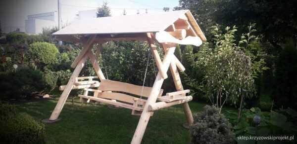 meble ogrodowe drewniane, huśtawki z bali, drewniane place zabaw, huśtawka z bali, huśtawka z dachem, gont bitumiczny 12