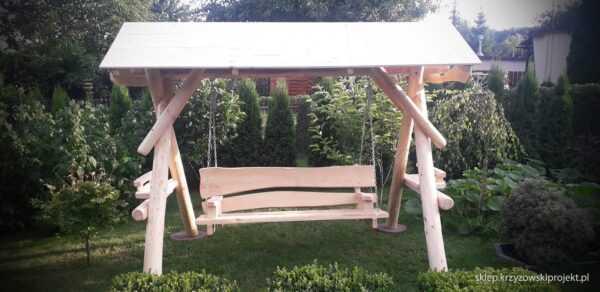 meble ogrodowe drewniane, huśtawki z bali, drewniane place zabaw, huśtawka z bali, huśtawka z dachem, gont bitumiczny 14