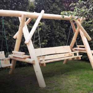 meble ogrodowe drewniane, huśtawki z bali, drewniane place zabaw, huśtawka z bali, huśtawka dla dziecka 01