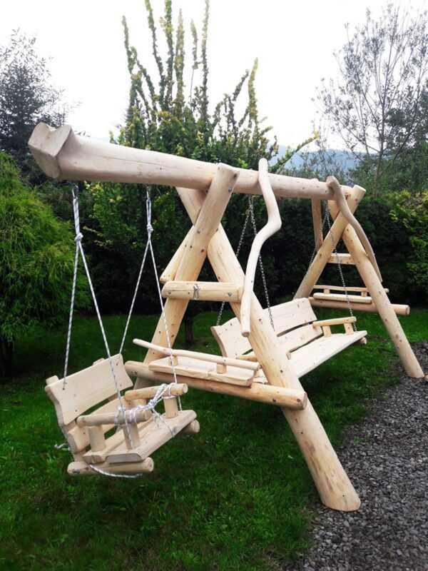 meble ogrodowe drewniane, huśtawki z bali, drewniane place zabaw, huśtawka z bali, huśtawka dla dziecka 03