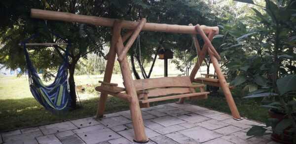 meble ogrodowe drewniane, huśtawki z bali, drewniane place zabaw, huśtawka z bali, huśtawka dla dziecka 06