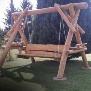 meble ogrodowe drewniane, huśtawki z bali, drewniane place zabaw, meble ogrodowe drewniane 02