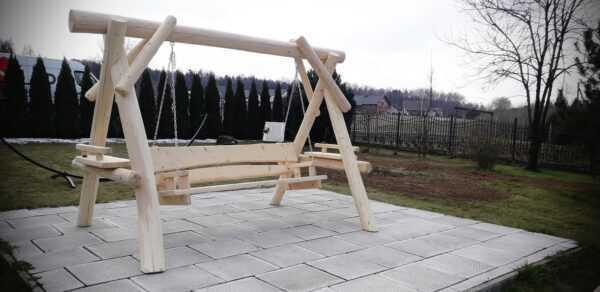 meble ogrodowe drewniane, huśtawki z bali, drewniane place zabaw, meble ogrodowe drewniane 03
