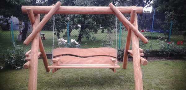 meble ogrodowe drewniane, huśtawki z bali, drewniane place zabaw, meble ogrodowe drewniane 07