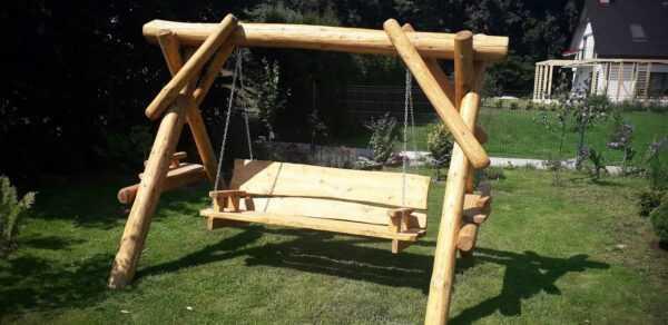 meble ogrodowe drewniane, huśtawki z bali, drewniane place zabaw, meble ogrodowe drewniane 08