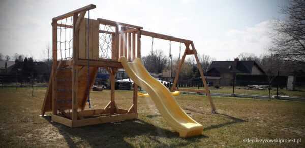 plac zabaw, meble ogrodowe, domek dla dzieci, zjeżdżalnia, ślizg, ścianka wspinaczkowa, huśtawka dla dzieci, nowoczesny plac zabaw drewniany 04